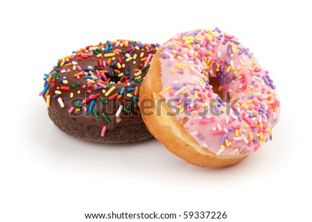 donuts isolated on a white background - stock photo