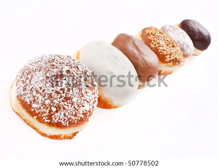donuts isolated on the white - stock photo