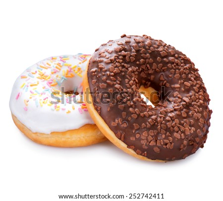 Donuts isolated on white background. Tasty glazed donuts closeup. Doughnut  - stock photo