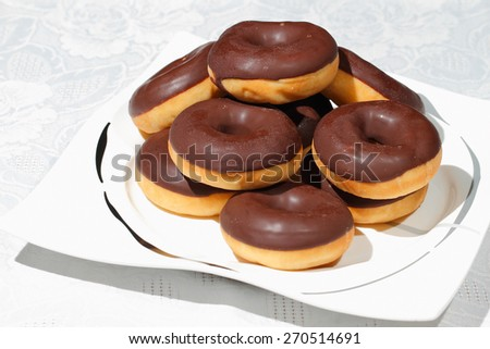 Donuts on a plate - stock photo
