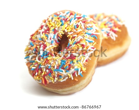 Donuts on the white background