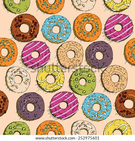 Donuts seamless pattern in doodle design. Cartoon style. Vintage.  - stock photo