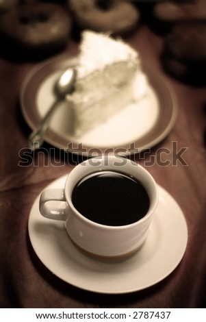 donuts - sepia - cup of coffee  - breakfast - stock photo