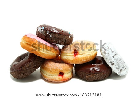 Donuts Stacked On Each Other Isolated On White Background - stock photo