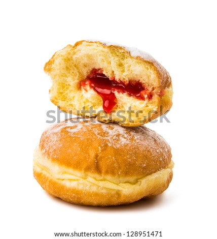 donuts with filling on white background - stock photo