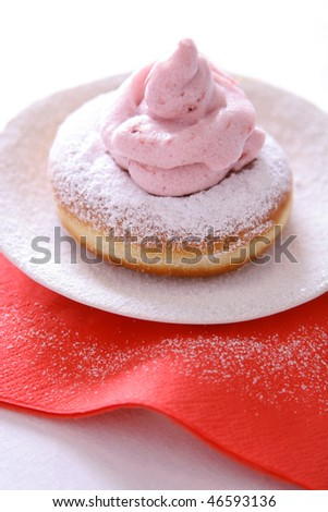 Donuts with strawberry froth - stock photo