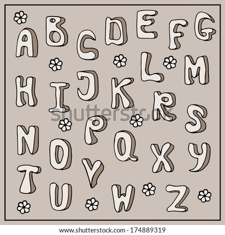 Doodle alphabet, hand drawn font, childish style, cartoon letters, ABC illustration, beige background, raster version - stock photo