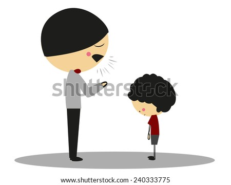Doodle angry father to son - Full Color - stock photo