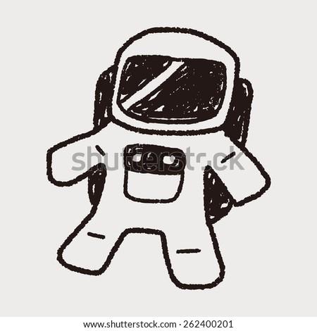 Doodle Astronaut - stock photo