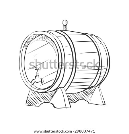 doodle barrel isolated on the white background