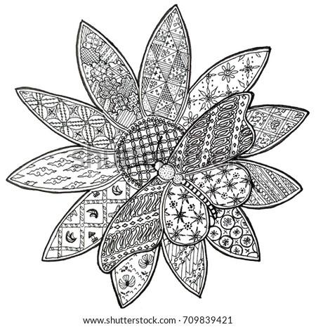 Doodle Batik Flower And Butterfly
