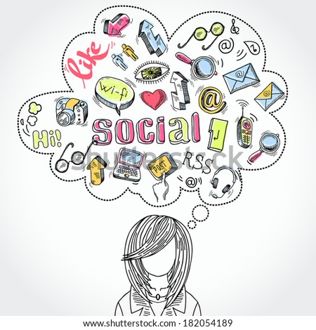 Doodle blog social media communication dreams and thoughts with woman silhouette  illustration