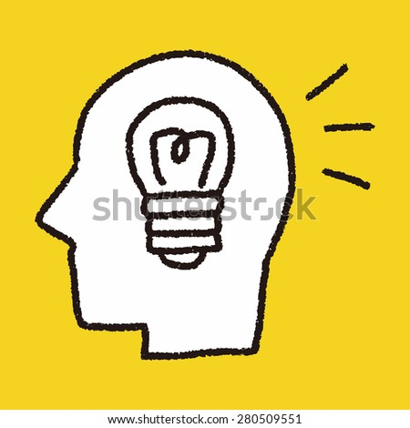 doodle brain idea - stock photo