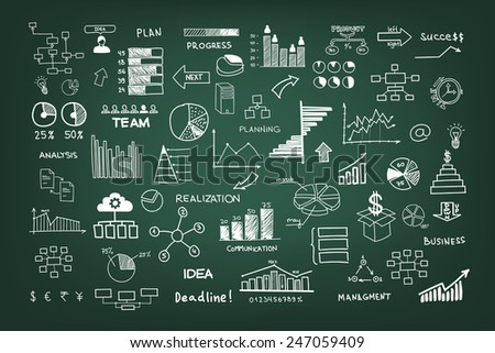 Doodle business management infographics elements - stock photo