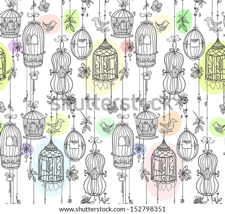 Doodle cages with birds seamless line. Raster. - stock photo