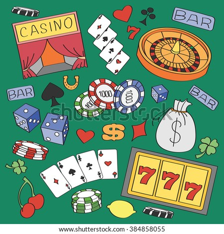 Doodle  casino with roulette, cards, cigar, whisky, casino chip, jack pot, dice, money