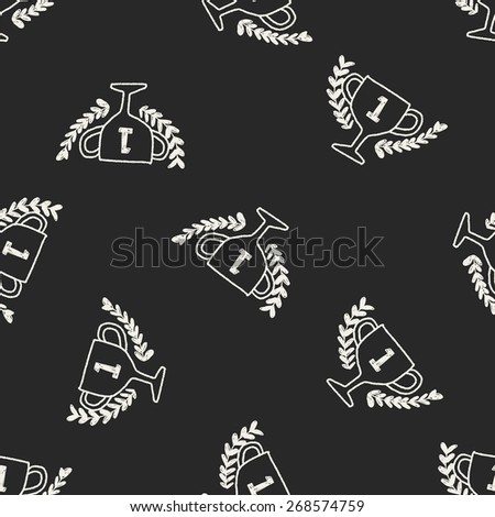 doodle champion cup seamless pattern background - stock photo