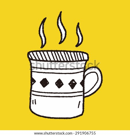 doodle coffee - stock photo
