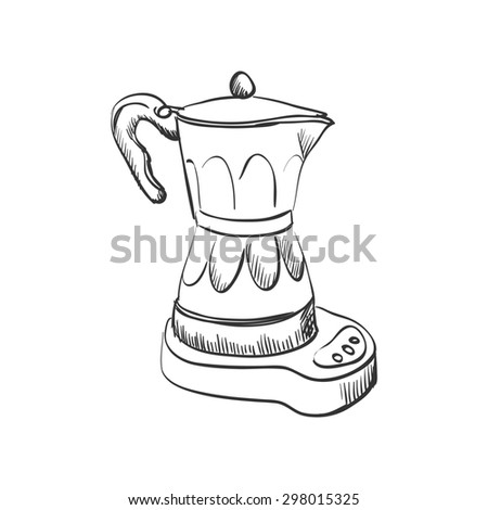 doodle coffee maker, hand drawing style - stock photo