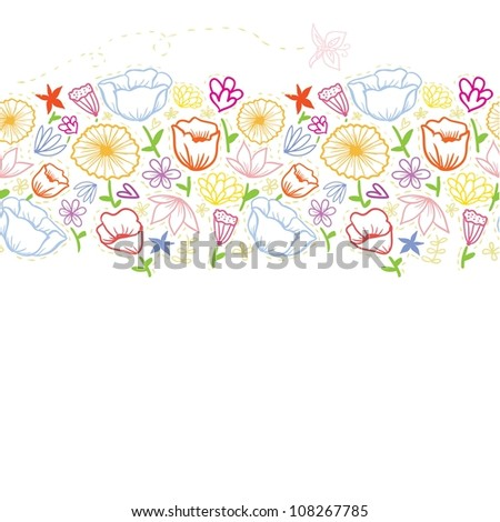 Doodle colorful outline flowers seamless line background. Raster. - stock photo