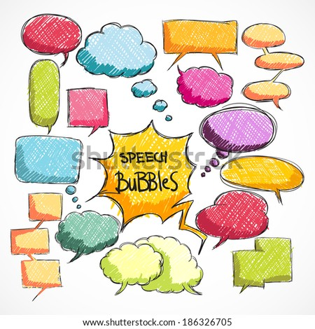Doodle comic chat bubbles collection isolated  illustration - stock photo