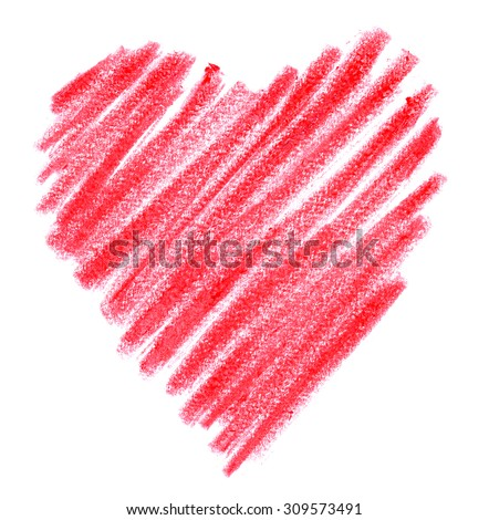 doodle crayon pink heart on white paper - stock photo