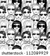 "Doodle ""crowd in sunglasses"" seamless pattern. Raster. - stock vector"