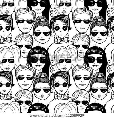 "Doodle ""crowd in sunglasses"" seamless pattern. Raster. - stock photo"