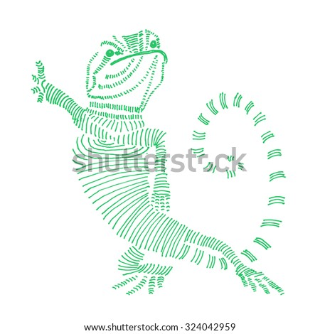 Doodle cute hand drawn lizard .Raster version - stock photo
