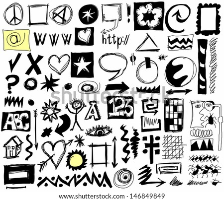 doodle design elements background - stock photo
