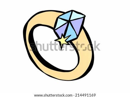 doodle diamond wedding ring - stock photo