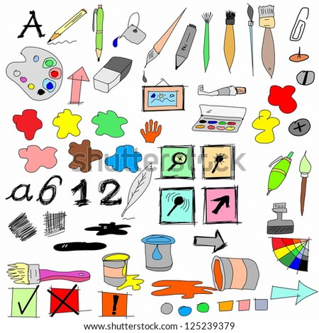 doodle drawing equipment and Icons - stock photo