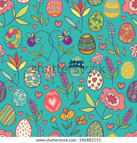 Doodle flowers and eggs blue seamless pattern. Raster version. - stock photo