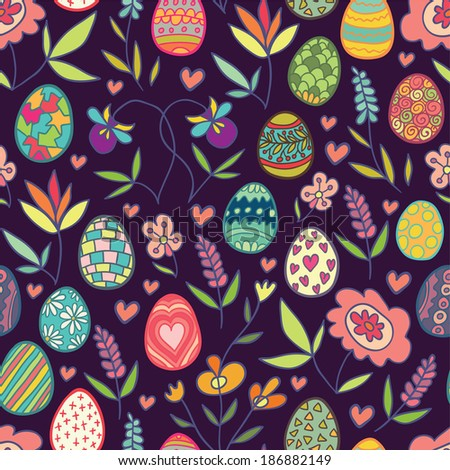 Doodle flowers and eggs purple seamless pattern. Raster version. - stock photo
