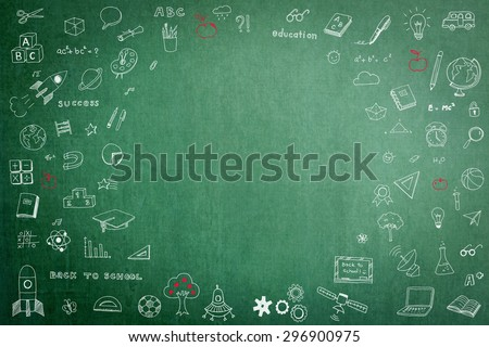 Doodle freehand chalk drawing on green chalkboard with circular blank copy space for adding texts: Childhood concept: Children/ students' thought of creative thinking idea about  education success  - stock photo