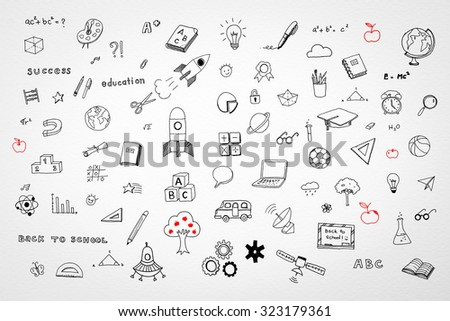 Doodle freehand drawing on white watercolor paper texture background: Childhood conceptual idea: Children/ school students' thought of creative thinking idea on educational success and creativity  - stock photo