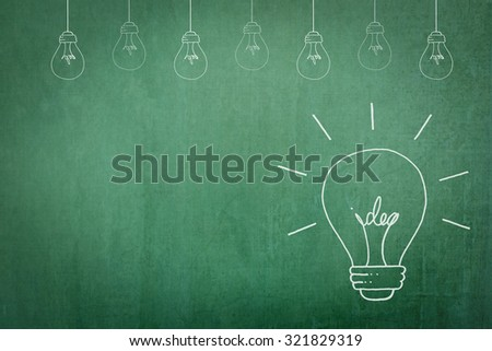 Doodle freehand sketch white chalk drawing of light bulb with idea inside on grunge black chalkboard background: Educational/ business creative thinking idea concept on success creativity Earth hour