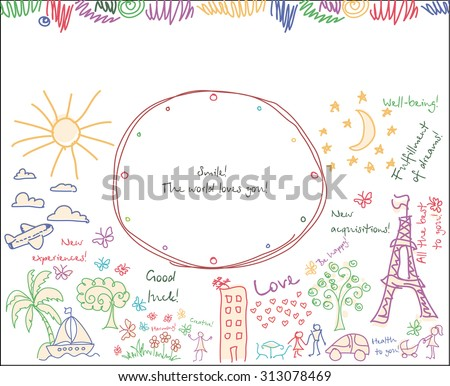 doodle Goals dreams and wishes background. Drawing your background of happy life. raster version - stock photo