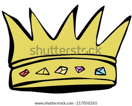 doodle gold crown - stock photo