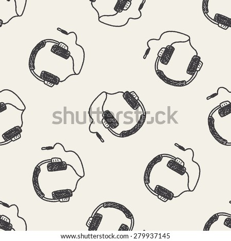 Doodle Headphone seamless pattern background - stock photo