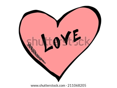 doodle heart  - stock photo