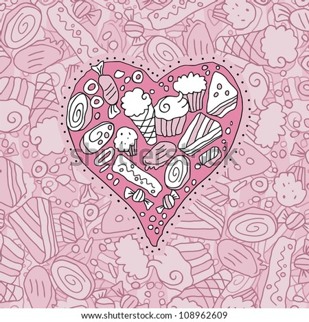 Doodle heart and background with cookies and sweets - stock photo