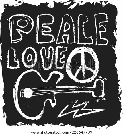 doodle icon grunge Peace, Love and Music isolated on black - stock photo