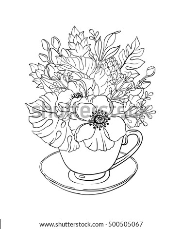 Doodle Illustration Coloring Page Flowers Bouquet Stock Illustration ...