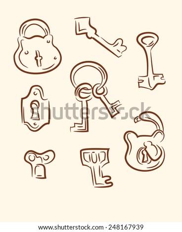 doodle keys - stock photo