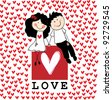 Doodle lovers: a boy and a girl holding hands, sitting at the love box with red hearts around. Raster. - stock vector