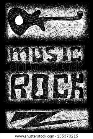 Doodle music icons background - stock photo
