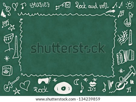 Doodle music, school chalkboard background and texture - stock photo