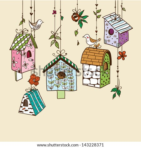 Doodle nesting boxes with birds. Raster. - stock photo