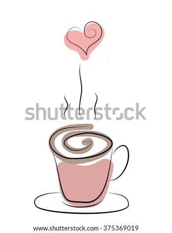 doodle of steaming cup of coffee, tea or hot chocolate with heart - stock photo